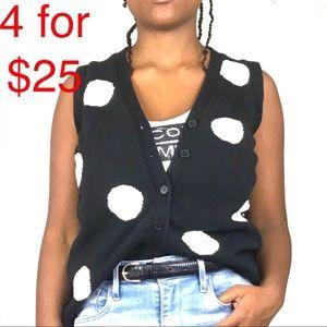 Chaus sport black and white polka dot vest Medium